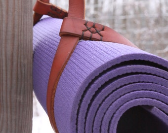 yoga mat strap. leather yoga mat sling in cherry wood red. READY TO SHIP.