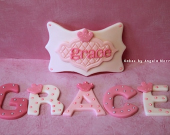 Fondant Name and name plaque cake topper