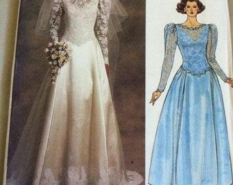 Vintage VOGUE 1519 Bridal Original Princess Seam Gown Pattern Size 10 Uncut Bride or Bridesmaid