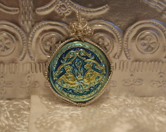 Czech Glass Button Pendant