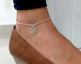 Monogram Anklet - Charm Ankle Bracelet - Personalized Jewelry - Sterling Silver