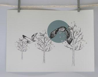 Flying Owl A3 print