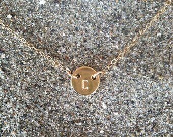 Tiny Gold Monogram Necklace, Initial Necklace, Gold Fill
