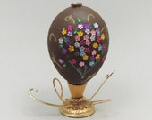 Decorated Chocolate Easter Egg Easter Egg with Floral Bouquet Easter Decoration Easter Egg Ornament Faberge Style Decorated Egg Art
