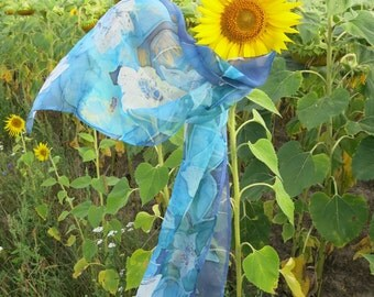 Blue  Silk scarf. Blue Narcissus.  Hand painted silk. Spring Floral silk scarf. Silk neck scarves. Summer scarf