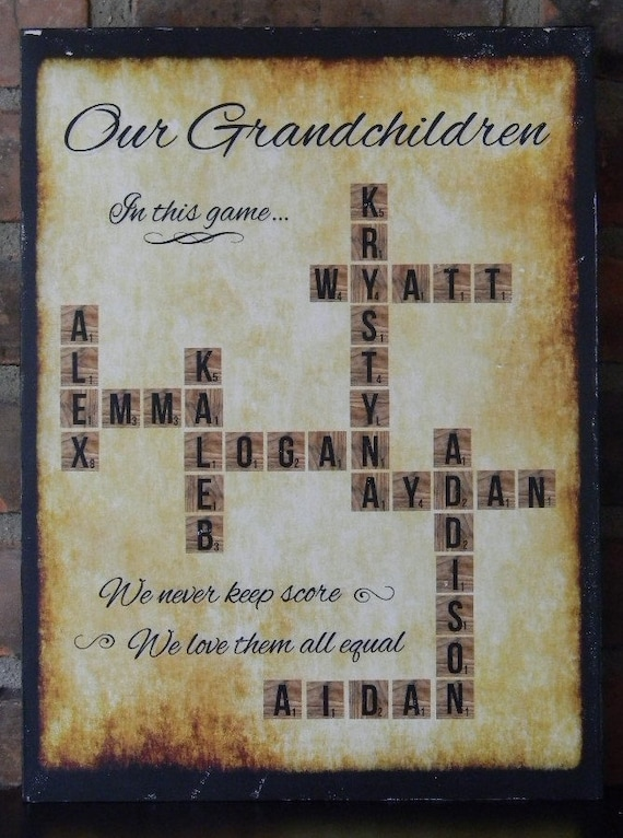 Grandchildren Names Scrabble Board Personalized