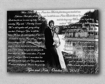 Gift for Bride and Groom. Custom Photo Canvas Print with your Wedding Songs Lyrics, Vows, Love Story.