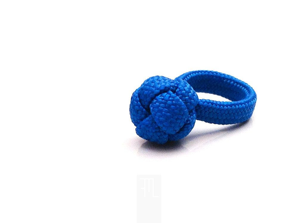 diamond knot ring in blue paracord a symbol of love by