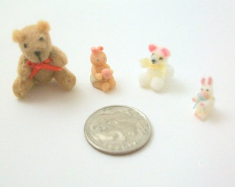 Miniature Teddy Bears, Dollhouse Teddy Bears, Miniature Bears, Dollhouse Bears, Miniature Baby, Miniature Rabbit, Dollhouse Plush, Choose 1