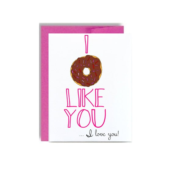 Valentines donut card - pink I donut like you I love you happy valentines day