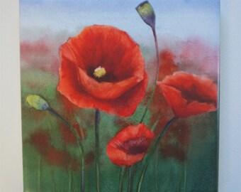 Poppy Tile Trivet Original Watercolor