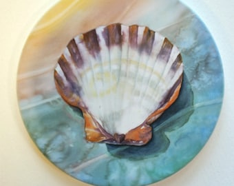 Shell Sandstone Coaster Original Watercolor Sea Art