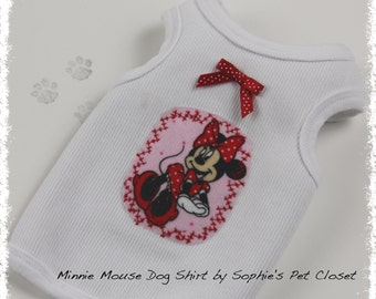 Minnie Mouse Dog Shirt - XS, S, M..... Disney Pet Shirt, Pet Clothing, Disney Pet Clothes, Dog Apparel, Minnie Outfit, Dog Birthday Party