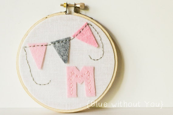 Child's Hoop Art with Customizable Felt Color and Fabric - Felt Initial and Bunting on Linen - Pink and Gray