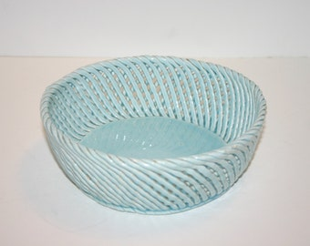 Vintage homemade crafted ceramic basketweave bowl