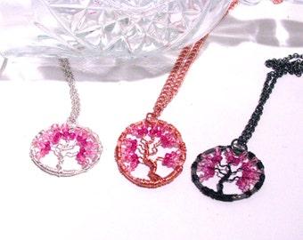 Pink Rose Tree of Life Swarovski Crystal Pendant