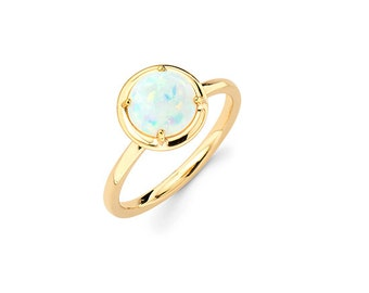 14K Yellow Gold Opal Ring, Yellow Gold Ring, Opal Ring, Promise Ring, Fancy Ring, Opal Fashion, Brithstone Ring, October Ring