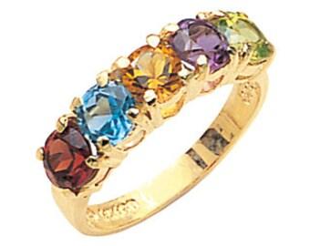 14k multi stone ring, multi stone ring,gemstone ring.