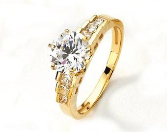 14K Yellow Gold Cubic Zirconia Ring, Gold Ring, Cubic Zirconia Ring, CZ Ring, Fancy Ring, Fashion Ring, Fancy Jewelry, CZ Jewelry