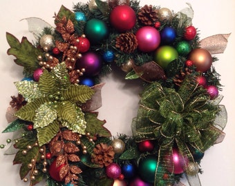 Jewel Toned Holiday Wreath