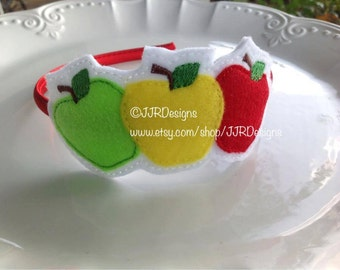 Apple Headband- Apple Slider- Apple Slider Headband- Apple Picking Headband- Back to School Headband
