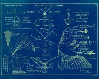 Vintage 1852 Flying Machines Blueprint 8.5x11 Print