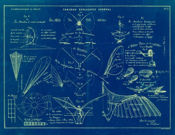 Vintage 1852 Flying Machines Blueprint