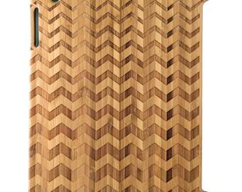 Natural Bamboo iPad 2,3,4 case, Progressive Chevrons design, UK