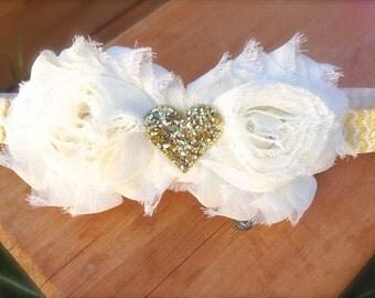 Baby Girl Ivory Gold Headband | Baby Girl Headband | Gold Baby Headband | Gold Heart Ivory Headband | Ivory Baby Girl Headband