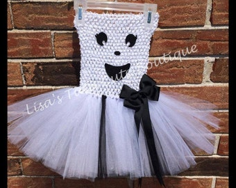 Friendly Ghost tutu dress. Infants, toddlers, children.