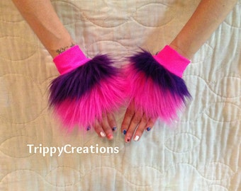 Fluffies pink and purple layer fluffie wrist cuffs. Great for raves, festivals, and gogo dancers.