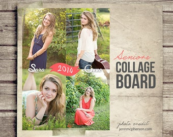 Seniors Photo Collage - Graduation Picture Collage - Photography Blog Board - Photo Collage Printable 8x10 Digital Collage INSTANT DOWNLOAD