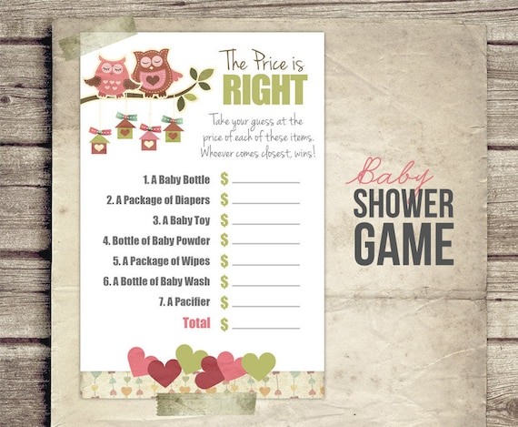 baby shower games price is right printable
