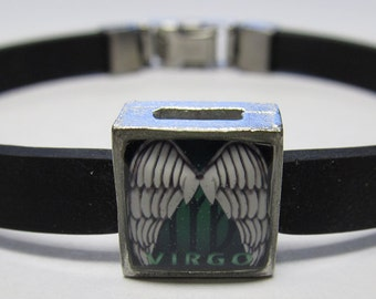 The Virgin Virgo Zodiac Sign Link With Choice Of Colored Band Charm Bracelet