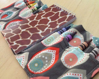 Crayon Roll with Notebook // Crayon Holder // Art to Go