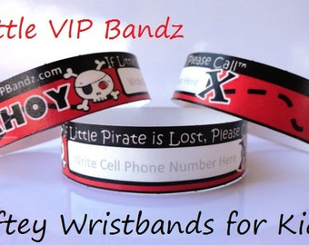 Safety Wristbands for Kids ~ AHOY Little Pirate 8/Pack