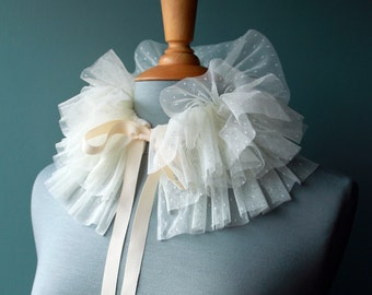 Tulle Ruff Collar - Beautiful Off-White Polka Dot - Elegant and Fun Handmade Statment Collar