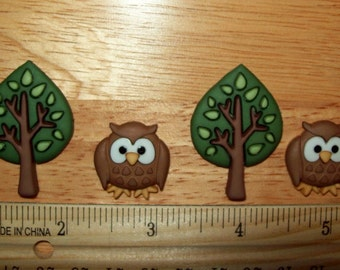 Night Owls and Trees, Embellishments for Scrapbook, Set of 4 pieces