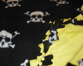 White Skulls on Black Fleece Blanket Perfect for a Teen or a Adult  Choose from Sewn or Tied Size 60in x 36in