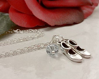 Sterling Silver Tap Shoes Charm Necklace, Personalized with your Initial and Swarovski Birthstone Element