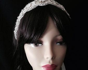 Bridal Headband- Rhinestone Bridal Headband- Bridal Headpiece- Couture Rhinestone Bridal Headband