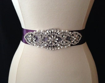 Bridal Sash - Wedding Dress Sash Belt - Eggplant Purple Rhinestone and Pearl Wedding Sash - Purple Rhinestone Bridal Sash