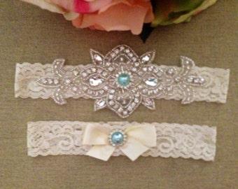 Wedding Garter - Bridal Garter - Ivory Crystal Rhinestone Garter and Toss Garter Set