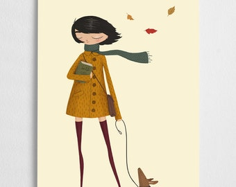 Fall art print, dog illustration, autumn girl // Windy