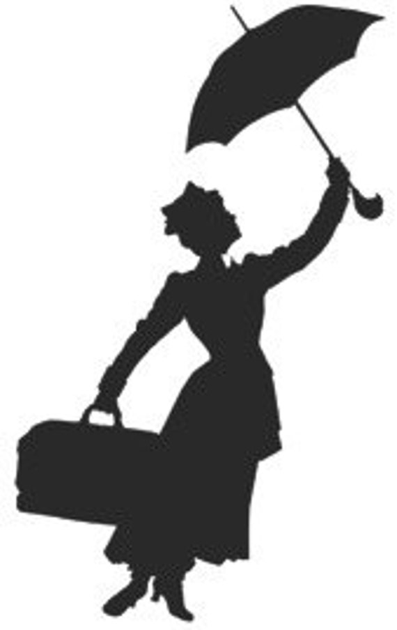Mary Poppins Silhouette Decal by NerdVinyl on Etsy