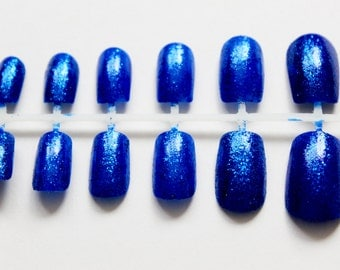 Blue Shimmer Sparkle False Nails