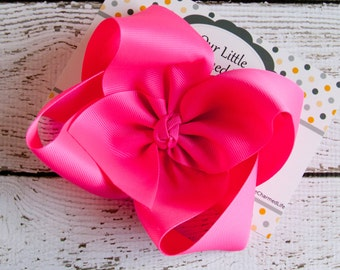 Neon Pink Hair Bow, Extra Large Pink Hair Bow, Pink Boutique Hair Bow, Pink Hair Clip, Pink Hairbow, Easter Hair Bow, Easter Hair Clip