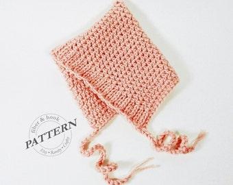 CROCHET PATTERN - Ribbed-Edge Baby Pixie Bonnet Pattern, Baby Pixie Hat Pattern, Easy Pixie Bonnet Pattern (0 to 24 month Sizes) pdf #009P