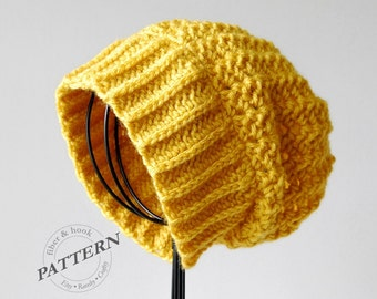 CROCHET PATTERN - Boho Slouchy Beanie, Crochet Slouch Hat Pattern, Easy Crochet (Toddler, Youth, Adult Sizes) pdf #022H