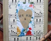 SALE-Handmade  Fabric and Vintage Paper 'Mr & Mrs' Wedding Card (Blank Inside)
